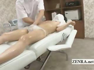 Subtitled shy Japanese schoolgirl first erotic massage