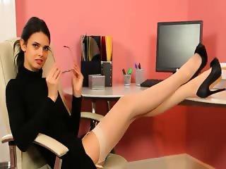Secretary in sexy black heels masturbate