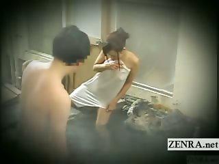 Subtitled Japanese shy exhibitionist bathing challenge