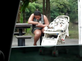 mini skirt in park