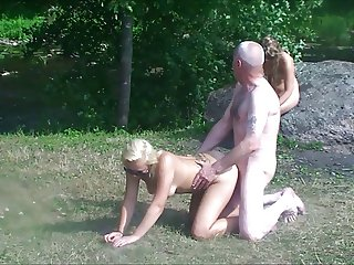 Teen 039 s and grandpa in the woods slow motion