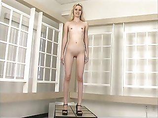 Tall skinny blonde removes her hot lingerie