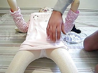cumming in my doll with white panties