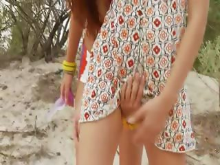 danish teens toying on the beach