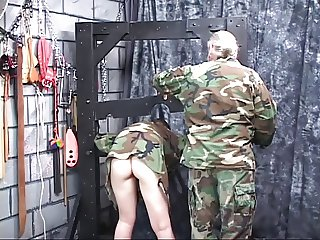 Red head army slut with a sweet ass gets naked and questioned