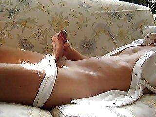 Wanking in white speedos