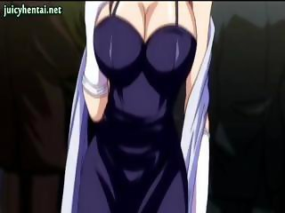 Anime babe gets her boobs rubbed