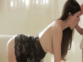 Supermodel babe in black stockings