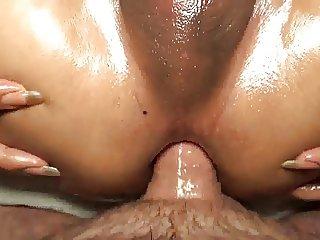 Brunette ladyboy teasing a cock