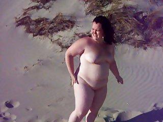 Fat bbw girl on a beach