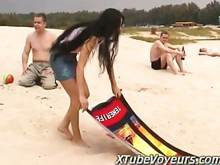 Hot Girl Strips Off Bikini on Public Beach