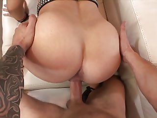 Thick brunette with tiny tits and big booty sucks and fucks tattooed thug