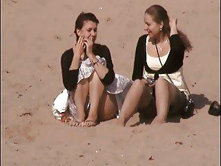 sitting on beach upskirt