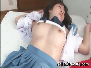 Nasty oriental schoolgirl sucks stiff part3