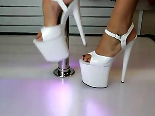 White G String Bikini Flamingo 8 Inch High Heels