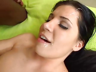 Brunette barbie takes and handles a BBC...Kyd