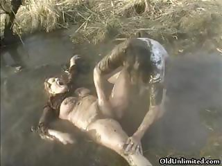 Dirty old mom covered with mud gets part5