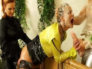 Classy lesbians gets bukkake and facials from plastic cocks